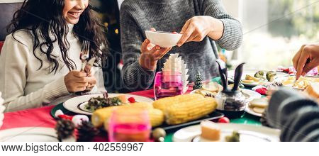 Portrait Of Happy Big Family Celebrating Having Fun And Eating Food On Lunch Together Enjoying Spend