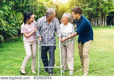 Portrait Enjoy Happy Smiling Love Multi-generation Asian Family Senior Mature Father And Elderly Mot