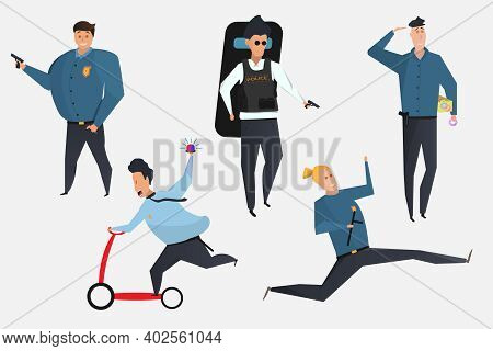 A Set Of Cartoon Characters. Funny Cops With A Baton, A Scooter, With Doughnuts. Vector Eps Illustra