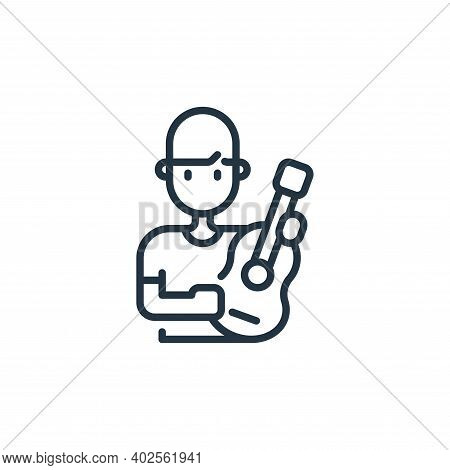 guitar player icon isolated on white background. guitar player icon thin line outline linear guitar