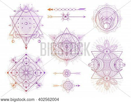 Vector Set Of Sacred Geometry Symbols With Moon, Eye And Arrows On White Background. Abstract Mystic