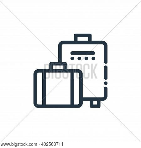 travel bag icon isolated on white background. travel bag icon thin line outline linear travel bag sy