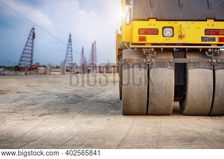 Drum Vibratory Road Roller Close-up Standing On Construction Site Background, Soil Compactor,  Bulld