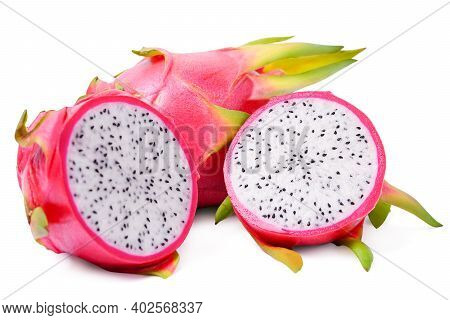 Isolated Dragon Fruit. Cut A Half Of Dragon Fruits Or Pitaya Isolated On White Background. With Clip