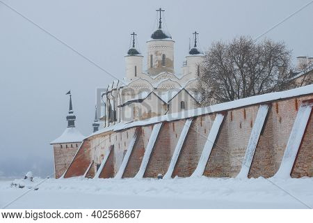 January Foggy Day At The Walls Of The Ancient Kirillo-belozersky Monastery. Vologda Oblast, Russia