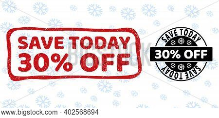Save Today 30 Percent Off Stamp Seals On Winter Background With Snow In Clean And Draft Versions For