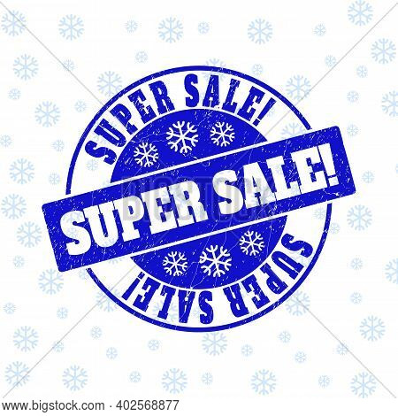 Super Sale Exclamation. Round Stamp Seal On Winter Background With Snowflakes. Blue Vector Rubber Im