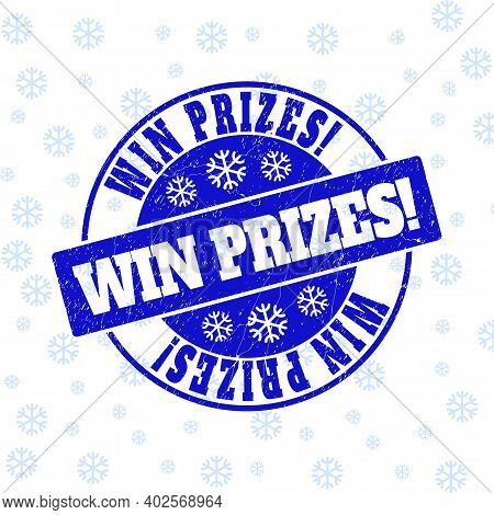 Win Prizes Exclamation. Round Stamp Seal On Winter Background With Snowflakes. Blue Vector Rubber Im