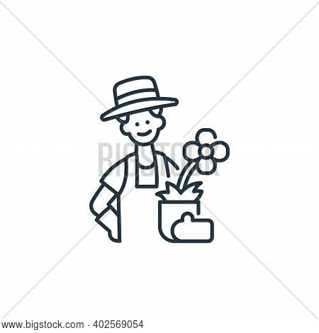 gardener icon isolated on white background. gardener icon thin line outline linear gardener symbol f