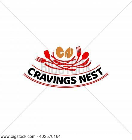 Cravings Nest Logo. Spoon Nest And Cn Letters In Eggs Shape.