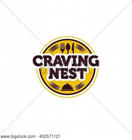 Craving Nest Restaurant Logo. Restaurant Round Yellow Logo.