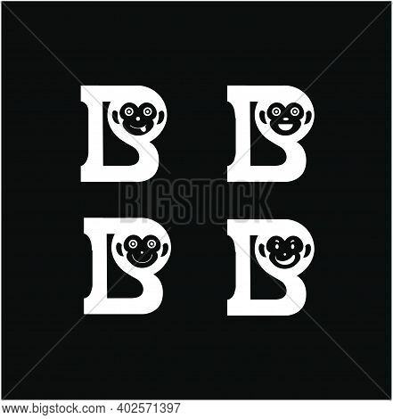 B Letters With Monkey's Face Expressions. B Monkey Logo.