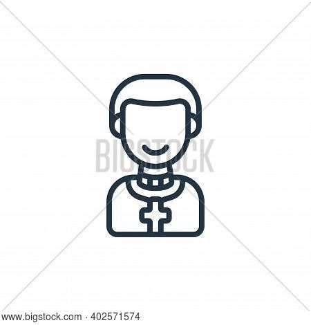 priest icon isolated on white background. priest icon thin line outline linear priest symbol for log