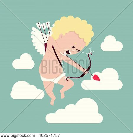 Valentine's Day Symbol Cupid Draws A Bow To Induce Romantic Love. Amour Flies In The Clouds In Searc