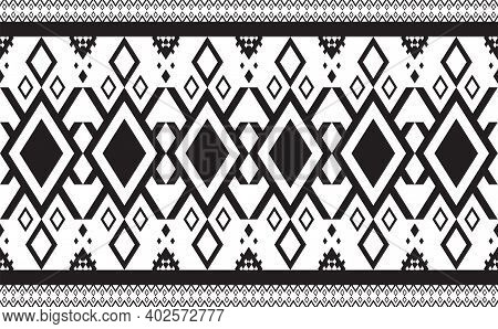 Abstract Geometric Pattern Seamless Black And White Vector.repeating Geometric Background.modern Des