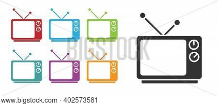 Black Retro Tv Icon Isolated On White Background. Television Sign. Set Icons Colorful. Vector Illust