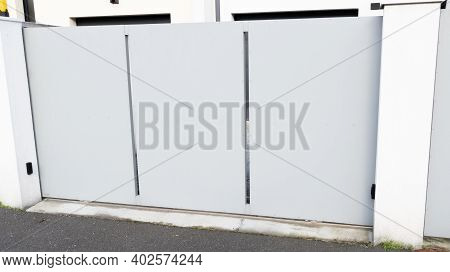 Large White Aluminum Door Home Gate Portal Of Suburbs House In City