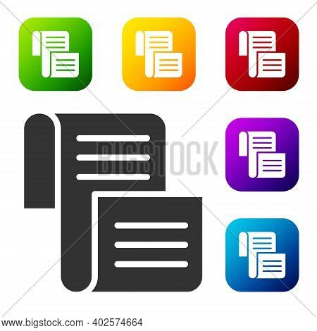 Black Decree, Paper, Parchment, Scroll Icon Icon Isolated On White Background. Set Icons In Color Sq