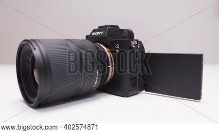 Russia, Moscow-december, 2020: New Professional Sony Camera. Action. Sony A7s Iii Camera With Powerf