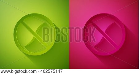Paper Cut Anti Worms Parasite Icon Isolated On Green And Pink Background. Paper Art Style. Vector