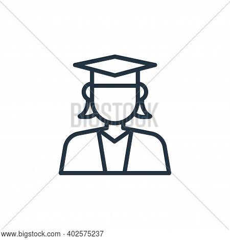 female student icon isolated on white background. female student icon thin line outline linear femal