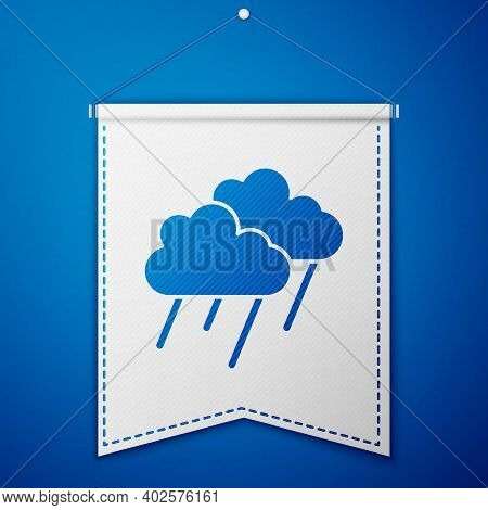 Blue Cloud With Rain Icon Isolated On Blue Background. Rain Cloud Precipitation With Rain Drops. Whi
