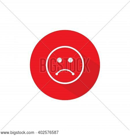 Disappointed Expression Button Icon Vector In Flat Style. Sad Face Symbol Illustration