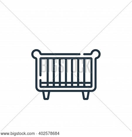 baby crib icon isolated on white background. baby crib icon thin line outline linear baby crib symbo