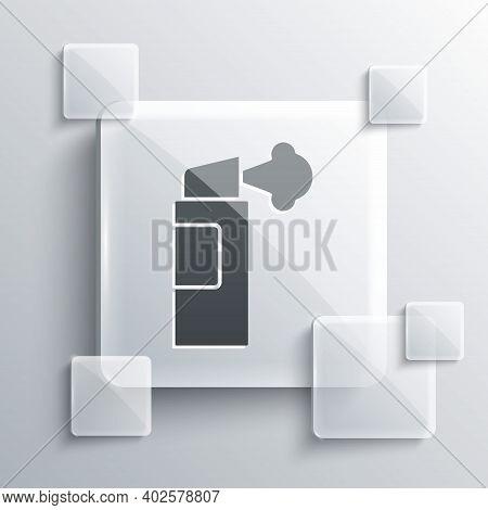 Grey Pepper Spray Icon Isolated On Grey Background. Oc Gas. Capsicum Self Defense Aerosol. Square Gl