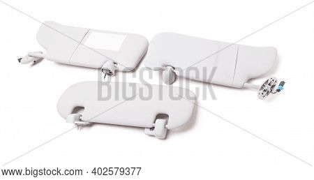 Car Visor Interior. Three Auto Grey Sun Visor With Mirror On White Isolated Background. Auto Service