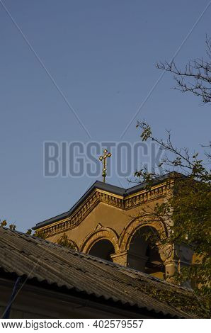 Upper Part Of The Orthodox Church On The Background Of The Sky.  Fragment Of The Building With Gilde