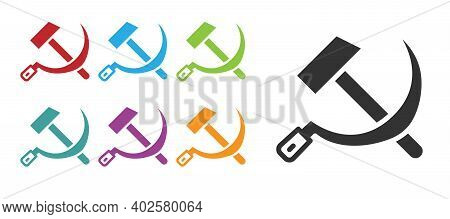 Black Hammer And Sickle Ussr Icon Isolated On White Background. Symbol Soviet Union. Set Icons Color