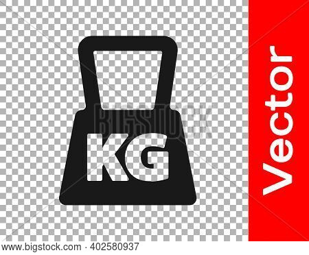 Black Weight Icon Isolated On Transparent Background. Kilogram Weight Block For Weight Lifting And S