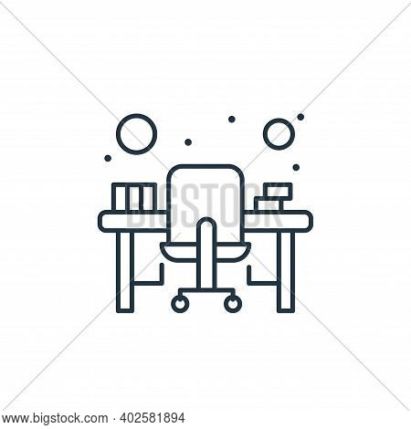 office desk icon isolated on white background. office desk icon thin line outline linear office desk