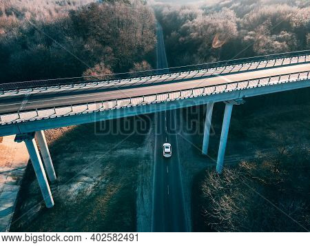 Overhead Top View Of The Car Going By Highway