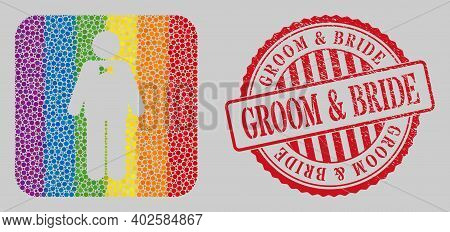 Grunge Groom And Bride Stamp Seal And Mosaic Groom Stencil For Lgbt. Dotted Rounded Rectangle Mosaic