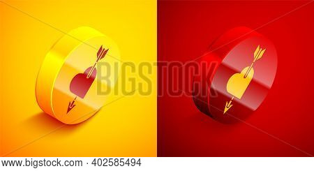 Isometric Amour Symbol With Heart And Arrow Icon Isolated On Orange And Red Background. Love Sign. V