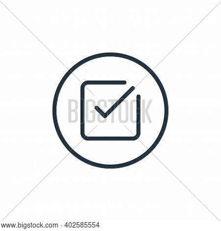 check icon isolated on white background. check icon thin line outline linear check symbol for logo,