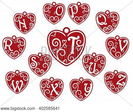 A Set Of Red Hearts In The Form Of A Pendant With Letters Of The Latin Alphabet From N To Z.