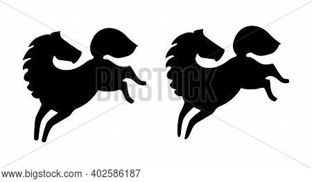 Galloping Horse. Silhouette, Sign, Logo. Vector Illustration