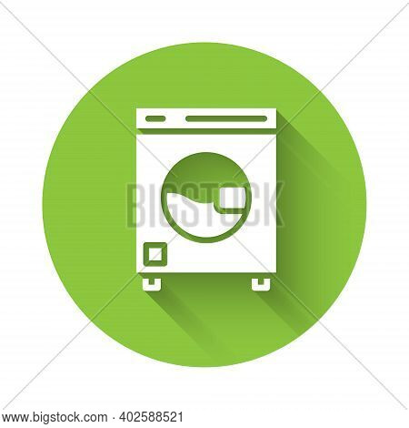 White Washer Icon Isolated With Long Shadow. Washing Machine Icon. Clothes Washer - Laundry Machine.