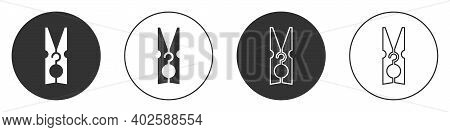 Black Old Wood Clothes Pin Icon Isolated On White Background. Clothes Peg. Circle Button. Vector
