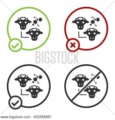 Black Cloning Icon Isolated On White Background. Genetic Engineering Concept. Circle Button. Vector