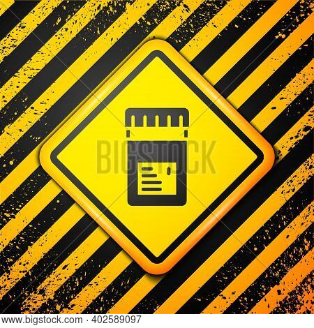 Black Biologically Active Additives Icon Isolated On Yellow Background. Warning Sign. Vector