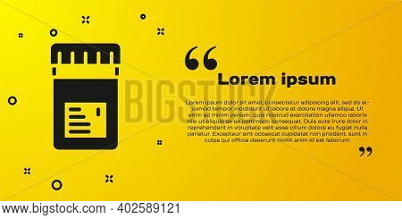 Black Biologically Active Additives Icon Isolated On Yellow Background. Vector
