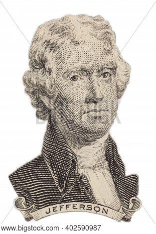 Portrait Of U.s. President Thomas Jefferson. Isolated On A White Background.