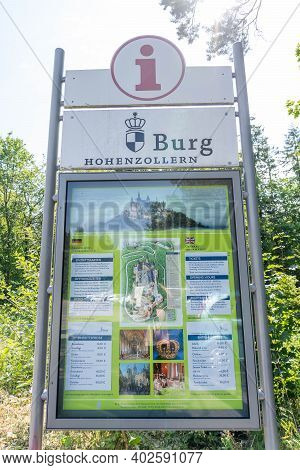 August 1st, 2020 - Hohenzollern, Germany: Road Sign Of Hohenzollern Burg Hill