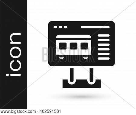 Black Ticket Office To Buy Tickets For Train Or Plane Icon Isolated On White Background. Buying Tick