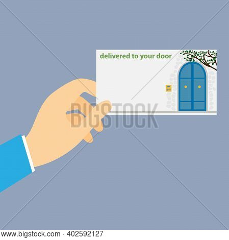 Hand Holding A Business Card With The Text