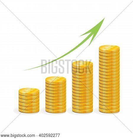 Money. Graph Of Revenue Growth. Growth Of Savings, Cash Profit. Coins.
